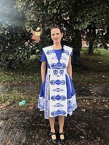 "Šaty - ""Bičianka z doliny"", ľudové šaty, ako vyšívané .... (Modrá) - 11167265_"
