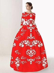 """Šaty - FLORAL FOLK """" Slovenská ornamentika """", spoločenské dlhé šaty (červená ostrá  + biely akvarel) - 11167354_"""