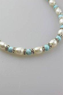 Náhrdelníky - larimar s perlou náhrdelník - 11166614_