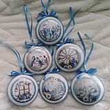 Dekorácie - Vianočné medailóny - Modrá zima - 11166324_