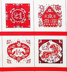 Textil - panel Adventný kalendár, 100 % bavlna USA, na dotvorenie - 11164968_