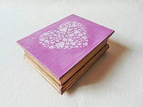 Krabičky - Drevená kazetka Srdiečko - 11164909_