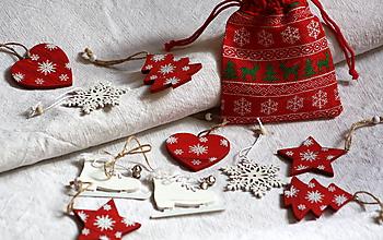 Hračky - Vianočné ozdoby. Drevené Vianočné ozdôbky 10 + 1 ks. - 11166684_