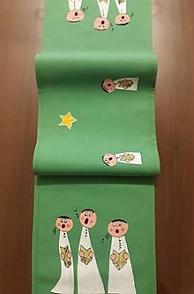 Úžitkový textil - Maľovaný stredový obrus, zelený, 23 x 139 cm - 11165636_
