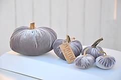 Dekorácie - zamatové tekvičky, šedé, sada č.2 - 11165203_