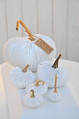 Dekorácie - zamatové tekvičky, biele, sada č.1 - 11165727_