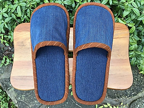 Obuv - Riflové papuče s hnedým lemom - 11165474_