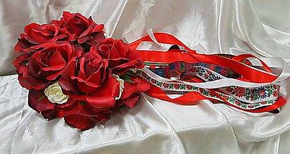 Ozdoby do vlasov - Veľká kvetinová parta z červených ruží - 11167566_