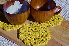Úžitkový textil - hačkovaná podšálka, horčicová - 11164789_