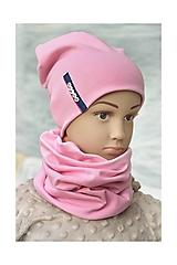 Detské súpravy - Set čiapka s menom + nákrčník Elastic- 21 odtieňov - 11166248_