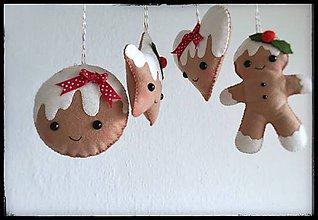 Dekorácie - Filcové medovníky - vianočná dekorâcia - 11166496_