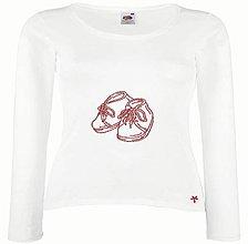 Tehotenské/Na dojčenie - Dámske vyšívané tričko dlhý rukáv : tehulka Botičky - 11164899_