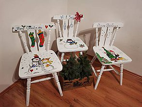 Nábytok - Maľovaná stolička Vianoce - 11167514_