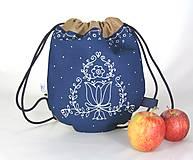 Detské tašky - batoh Benjamím béžový + modrotlač AM1 - 11166501_