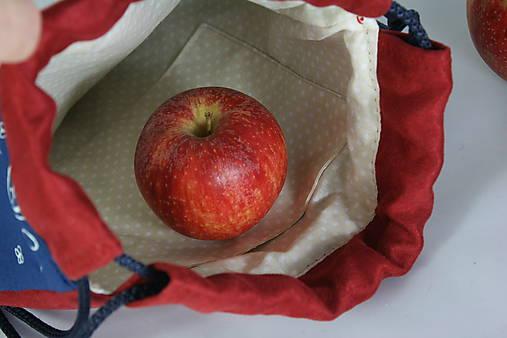 batoh Benjamím červený + modrotlač AM1
