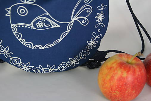 batoh Benjamím bledomodrý + modrotlač AM1