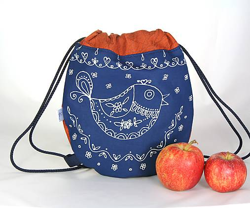 batoh Benjamím oranžový + modrotlač AM1