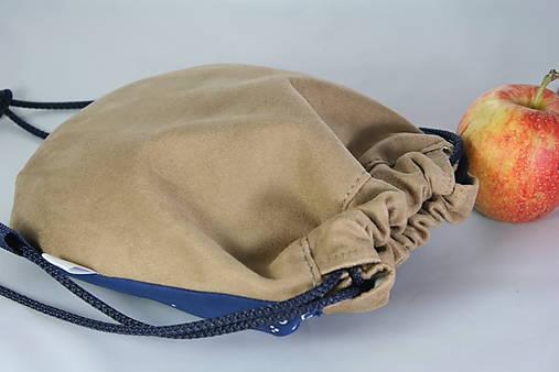 batoh Benjamím béžový + modrotlač AM1