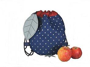 Detské tašky - batoh Jabĺčko červené + modrotlač 1 - 11166260_