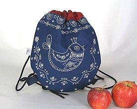 Detské tašky - batoh Benjamím červený + modrotlač AM1 - 11166465_