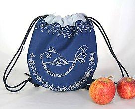 Detské tašky - batoh Benjamím bledomodrý + modrotlač AM1 - 11166470_