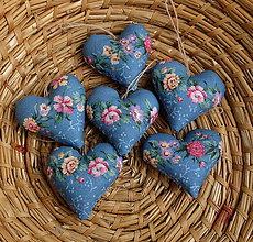 Dekorácie - Srdiečko s levanduľou (Modrá kvietkovaná 6 cm) - 11165111_