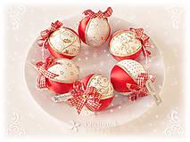 Dekorácie - Vianočné gule patchworkové - Červeno-smotanová sada - 11165657_