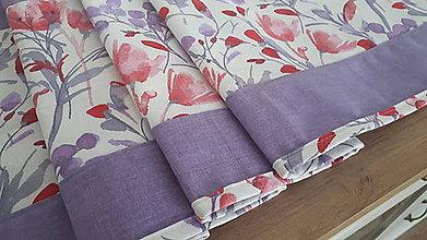 Úžitkový textil - Stredový obrus  (Kvietky na bielej.fialová kombinácia) - 11170010_