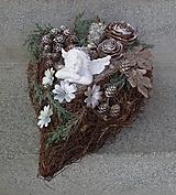 Dekorácie - Spomienkové prútené srdce s anjelikom - 11169032_