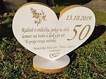 Dekorácie - Drevené srdce k 50. narodeninám - 11168672_