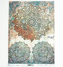 Papier - Ryžový papier na decoupage - A4 - R1589 - mandala - 11168319_