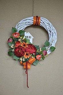 Dekorácie - Dverový veniec s domčekom - 11167991_