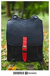 Batohy - Kožený batoh černý s červeným řemínkem - 11168559_