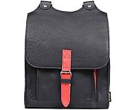 Batohy - Kožený batoh černý s červeným řemínkem - 11168562_