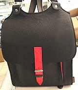 Batohy - Kožený batoh černý s červeným řemínkem - 11168563_