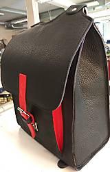 Batohy - Kožený batoh černý s červeným řemínkem - 11168564_