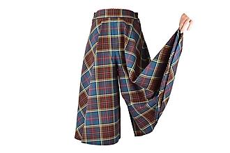 """Nohavice - BONNIE - sukňovice zo škótskeho kára """"kárované cullotes"""" (B4 - Petrolejové) - 11169940_"""