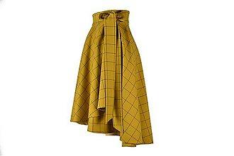 Sukne - FIONA - asymetrická zavinovacia sukňa (A3 - horčicové káro) - 11169955_