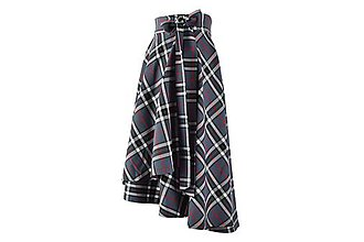 Sukne - FIONA - asymetrická zavinovacia sukňa (sivé káro) - 11169971_