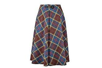 Sukne - AILI - midi sukňa s prackou (Petrolejové káro) - 11170083_