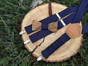 Doplnky - Pánsky drevený motýlik a traky - 11168463_