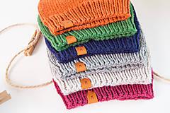 Detské čiapky - Pletená merino čiapka detská - 11168584_