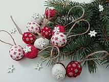 """Dekorácie - Vianočné oriešky """"hviezdičky"""" - červené, biele - 11168391_"""