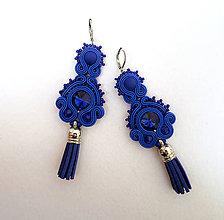 Náušnice - Kráľovské modré so strapčekom - 11168719_