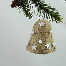 Dekorácie - SÍRIUS - vianočná dekorácia - gule a zvonček (zvonček 6,5 x 6,5 cm) - 11169215_