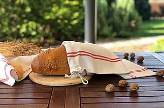 Úžitkový textil - Vrecúško na chlieb z ručne tkaného plátna - 11169505_
