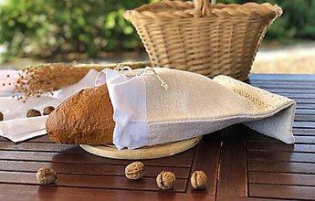 Úžitkový textil - Podšité vrecko na chlieb z hrubého ľanového plátna - 11169609_