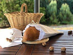 Úžitkový textil - Podšité vrecko na pečivo z hrubého ľanového plátna - 11169705_