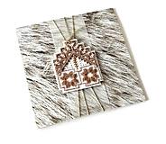 Papiernictvo - Puto domova  I - vyšívaná vianočná pohľadnica - 11169829_