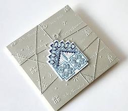 Papiernictvo - Puto domova III- vyšívaná vianočná pohľadnica - 11169916_
